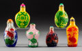 Asian:Chinese, Six Chinese Carved Glass Overlay Snuff Bottles. 3-1/4 inches high(8.3 cm). PROPERTY FROM A BEVERLY HILLS ESTATE... (Total: 6 Items)