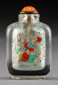 Asian:Chinese, A Chinese Reverse Painted Glass Snuff Bottle Depicting Children atPlay Attributed to the Studio of Ye Zhongsan. 2-1/8 inche...