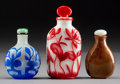 Asian:Chinese, Three Chinese Glass Scent and Snuff Bottles. 4-1/8 inches high(10.5 cm) (tallest). ... (Total: 3 Items)