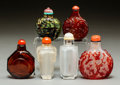 Asian:Chinese, Six Chinese Carved Glass Snuff Bottles. 2-3/4 inches high (7.0 cm)(tallest). PROPERTY FROM A BEVERLY HILLS ESTATE... (Total: 6 Items)