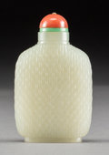 Asian:Chinese, A Chinese Carved White Jade Bamboo Patterned Snuff Bottle, QingDynasty . 3 inches high (7.6 cm). ...