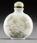 Asian:Chinese, A Chinese Enameled White Glass Snuff Bottle. Marks: Rubbedthree-character Guyue Xuan mark. 2-3/4 inches high (7.0 cm). ...