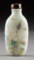 Asian:Chinese, A Chinese Enameled White Glass Snuff Bottle Attributed to theImperial Palace Workshops, Qing Dynasty. Marks: Three-characte...