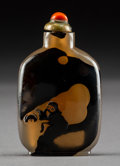 Asian:Chinese, A Chinese Carved Agate Snuff Bottle, Qing Dynasty . 2-1/2 incheshigh (6.4 cm). ...