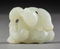 Asian:Chinese, A Chinese Carved White Jade Toggle, Qing Dynasty. 1-1/4 inches highx 1-1/2 inches wide (3.2 x 3.8 cm). ...
