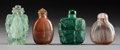 Asian:Chinese, Four Chinese Carved Rock Crystal and Hardstone Snuff Bottles. 2-1/2inches high (6.4 cm) (tallest). PROPERTY FROM A BEVERL... (Total: 4Items)