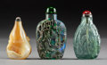 Asian:Chinese, Three Chinese Carved Mother-of-Pearl, Rock Crystal, and Opal SnuffBottles. 2-7/8 inches high (7.3 cm) (tallest). PROPERTY... (Total:3 Items)