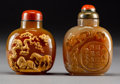 Asian:Chinese, Two Chinese Carved Agate Snuff Bottles, late Qing Dynasty. 3-3/8inches high (8.6 cm) (taller). PROVENANCE:. Christie's Sw...