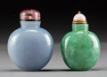 Asian:Chinese, Two Chinese Jadeite Snuff Bottles. 2-1/2 inches high (6.4 cm).PROPERTY FROM A BEVERLY HILLS ESTATE... (Total: 2 Items)