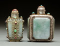 Asian:Chinese, Two Chinese Carved Jadeite and Silver Mounted Snuff Bottles. 3inches high (7.6 cm) (taller). PROPERTY FROM A BEVERLY HILL...(Total: 2 Items)