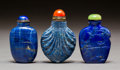 Asian:Chinese, Three Chinese Carved Lapis Lazuli Snuff Bottles. 2-3/4 inches high(7.0 cm) (tallest). PROPERTY FROM A BEVERLY HILLS ESTAT... (Total:3 Items)