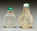 Asian:Chinese, Two Chinese Carved Rock Crystal Snuff Bottles. 2-3/4 inches high(7.0 cm) (taller). PROPERTY FROM A BEVERLY HILLS ESTATE... (Total:2 Items)