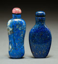 Asian:Chinese, Two Chinese Carved Lapis Lazuli Snuff Bottles. 3-1/8 inches high(7.9 cm). PROPERTY FROM A BEVERLY HILLS ESTATE... (Total: 2 Items)