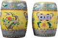 Asian:Chinese, A Large Pair of Chinese Enameled Yellow Ground Porcelain GardenStools, late Qing Dynasty. 18-1/4 inches high x 13-1/2 inche...(Total: 2 Items)