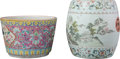 Asian:Chinese, A Chinese Enameled Porcelain Garden Stool and Planter, QingDynasty, late 19th-early 20th century. 10-3/8 inches high (26.4 ...(Total: 2 Items)