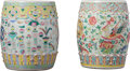 Asian:Chinese, Two Chinese Enameled Porcelain Garden Stools, Republic Period,early 20th century. 12-5/8 inches high (32.1 cm) (taller). ...(Total: 2 Items)
