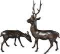 Asian:Japanese, Two Large Japanese Bronze Buck and Fawn Figures, Taisho Period,circa 1912-1926. 41-1/4 h x 26-1/2 w x 12 d inches (104.8 x ...(Total: 2 Items)