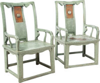 An Unusual Pair of Chinese Painted and Lacquered Hardwood Court Chairs, Qing Dynasty, 18th-19th century 39-1/2 h x