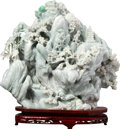 Asian:Chinese, A Large Chinese Carved Jadeite Landscape Boulder on Hardwood Stand,20th century. 14-1/2 h x 17 w x 5 d inches (36.8 x 43.2 ...
