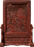 Asian:Chinese, A Chinese Cinnabar and Black Lacquered Table Screen with LandscapeMotif and Inscription, Qing Dynasty. 22-3/4 h x 16-1/2 w ...