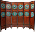 Asian:Chinese, A Chinese Six-Panel Cloisonné-Inset Hardwood Floor Screen, 20thcentury. 71-1/2 h x 96 w x 1-1/2 d inches (181.6 x 243.8 x 3...