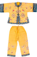 Asian:Chinese, A Chinese Embroidered Yellow Silk Robe and Slacks, late Qing-early Republic Period. 28-1/2 inches high x 48 inches wide (72.... (Total: 2 Items)