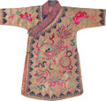 Asian:Chinese, A Chinese Gold Thread and Embroidered Silk Robe with Fu Lion andDharma Wheel Motif, late Qing Dynasty, 19th century. 42 inc...