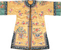 Asian:Chinese, A Chinese Embroidered Yellow Silk Robe, early Republic Period. 44inches high x 53 inches wide (111.8 x 134.6 cm). ...