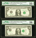 Error Notes:Shifted Third Printing, Fr. 1921-D $1 1995 Federal Reserve Notes. Two Consecutive Examples. . ... (Total: 2 notes)