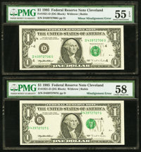 Fr. 1921-D $1 1995 Federal Reserve Notes. Two Consecutive Examples