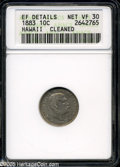 Coins of Hawaii: , 1883 10C Hawaii Ten Cents VF30--Cleaned--ANACS, XF Details....