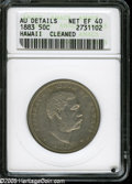 Coins of Hawaii: , 1883 50C Hawaii Half Dollar XF40--Cleaned--ANACS, AU Details....