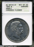 Coins of Hawaii: , 1883 S$1 Hawaii Dollar XF40--Corroded, Cleaned--ANACS, AU Details....