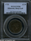 1722 1/2P Hibernia Halfpenny, Type One, Harp Left VF30 PCGS. Breen-144. An attractive mahogany-brown piece. A few small...