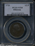 1723 1/2P Hibernia Halfpenny VF35 PCGS. Breen-157. No stop before H, small 3 in date. A pleasing and glossy deep golden-...