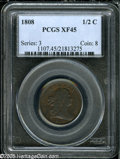 Half Cents: , 1808 1/2 C XF45 PCGS. B-3, C-3, R.1. The die is distinguished bythe second 8 in the date being noticeably higher than the ...