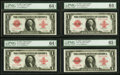 Fr. 40 $1 1923 Legal Tender Cut Sheet of Four PMG Gem Uncirculated 65 EPQ, and Three PMG Choice Uncirculated 64 EPQs