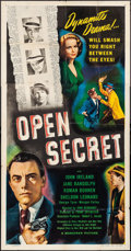"Movie Posters:Crime, Open Secret (Marathon Pictures, 1948). Three Sheet (41"" X 79"").Crime.. ..."