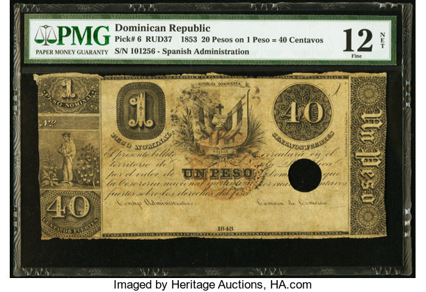 World Currency Dominican Republic Republica Dominicana 20 Pesos On 1 Peso 40centavos 1848 Pick