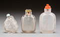 Asian:Chinese, Three Chinese Carved Rock Crystal Snuff Bottles. 3-1/4 inches high(8.3 cm) (tallest). PROPERTY FROM A BEVERLY HILLS ESTAT... (Total:3 Items)