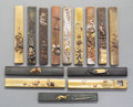 Asian:Japanese, Fourteen Japanese Mixed Metal Kozuka, Edo, 19th century. Marks:Various engravings. 3-3/4 inches long (9.5 cm) (each). PRO...(Total: 14 Items)