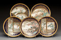 Asian:Japanese, Five Kinkozan Japanese Satsuma Porcelain Plates with Avian Motifs,Meiji Period, late 19th century. Marks: Four-character gi...(Total: 5 Items)