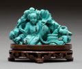 Asian:Chinese, A Chinese Carved Turquoise Figural Group on Hardwood Stand...