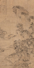 Asian:Chinese, Attributed to Wang Hui (Chinese, 1632-1717). ClassicalLandscape. Ink on paper. 58-1/2 inches high x 30 inches wide(148...