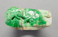 Asian:Chinese, A Chinese Carved Jadeite Ring with Ruyi Motif1...