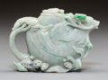 Asian:Chinese, A Chinese Carved Jadeite Teapot with Phoenix and Wave Moti...