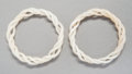 Asian:Chinese, A Pair of Chinese Carved and Articulated White Jade Bangle...