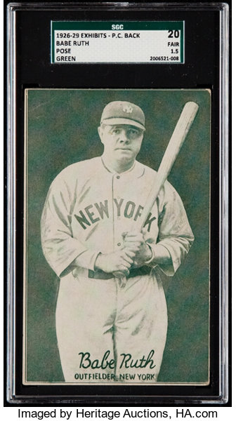 1926 1929 Exhibit Post Card Backs Babe Ruth Pose Sgc 20