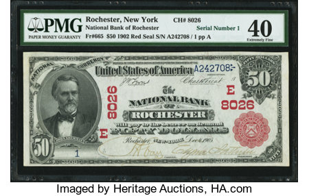 Rochester, NY - $50 1902 Red Seal Fr. 665 The NB of Rochester Ch. # (E)8026 ...