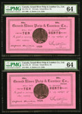 Canadian Currency, Grand River, NL- Grand River Pulp & Lumber Co. 10¢ ND (ca.1900) Ch. UNL Two examples.. ... (Total: 2 notes)
